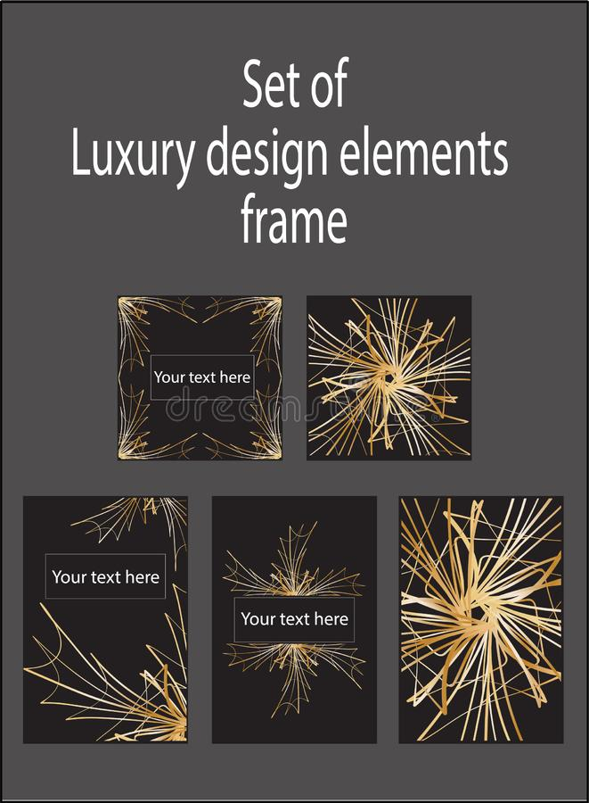 Ajuste dos elementos luxuosos decorativos pretos do projeto do ouro Etiquetas e quadros ilustração do vetor