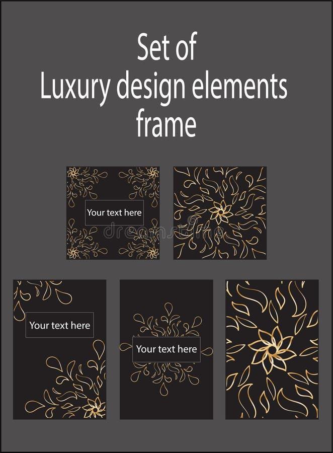 Ajuste dos elementos luxuosos decorativos pretos do projeto do ouro Etiquetas e quadros ilustração stock