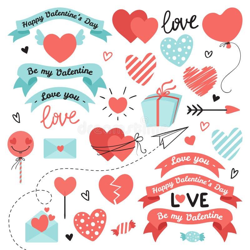 Ajuste dos elementos para o dia de Valentim, projeto do casamento Inclui corações, fitas, doces, letras, envelopes, setas Amor ilustração royalty free