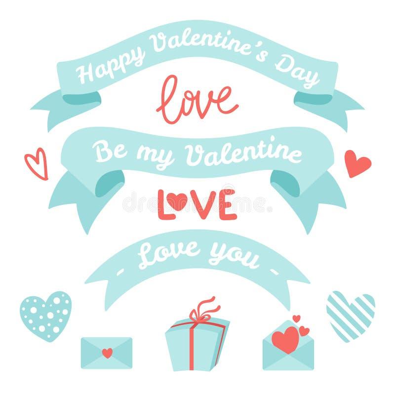 Ajuste dos elementos para o dia de Valentim, projeto do casamento Inclui fitas, corações, envelopes, caixa de presente, rotulação ilustração do vetor