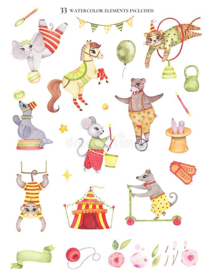 Ajuste dos elementos que do circo da aquarela os animais carregam no elefante do unicycle no salto do tigre do cavalo da bola ilustração stock