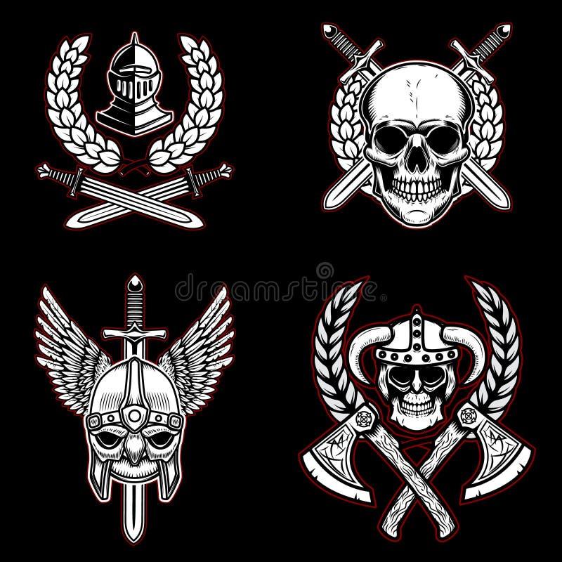Ajuste dos emblemas com arma antiga, cavaleiros do vintage, viquingues Projete o elemento para o logotipo, etiqueta, emblema, sin ilustração royalty free