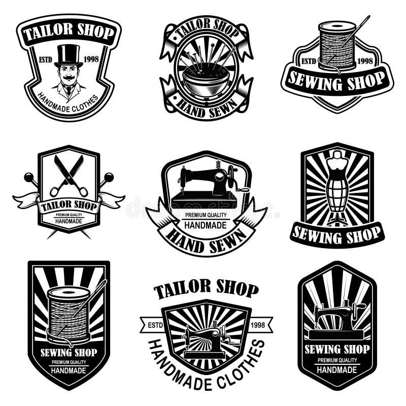 Ajuste dos emblemas da loja do alfaiate do vintage Projete elementos para o logotipo, etiqueta, sinal, crachá ilustração stock