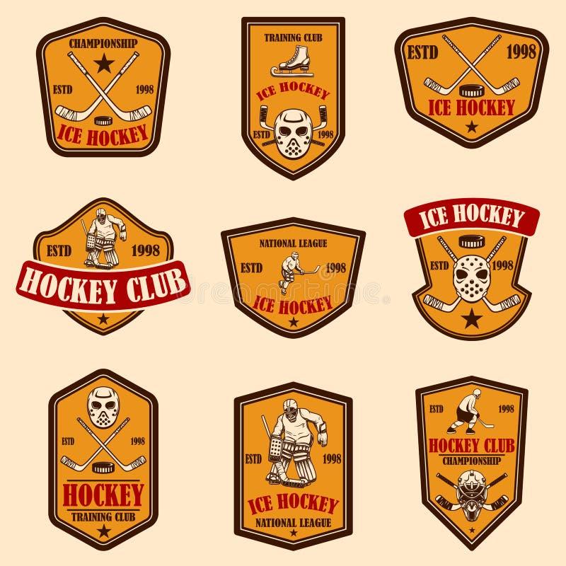 Ajuste dos emblemas do clube do hóquei Elemento do projeto para o logotipo, etiqueta, sinal, cartaz, bandeira ilustração stock