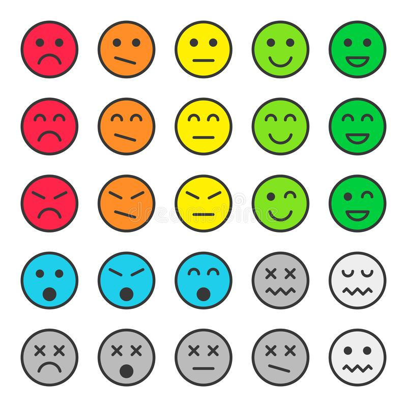 Ajuste dos emoticons coloridos, enfrente ícones Ilustra??o do vetor Isolado no fundo branco ilustração do vetor