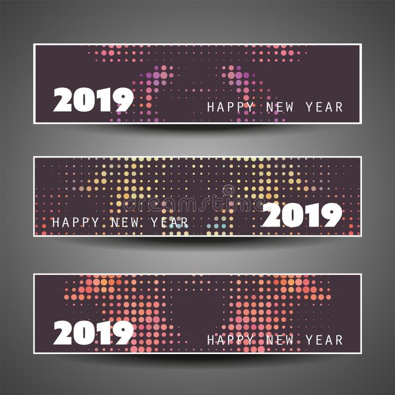 Ajuste dos encabeçamentos do ano novo ou das bandeiras horizontais manchadas - 2019 ilustração do vetor