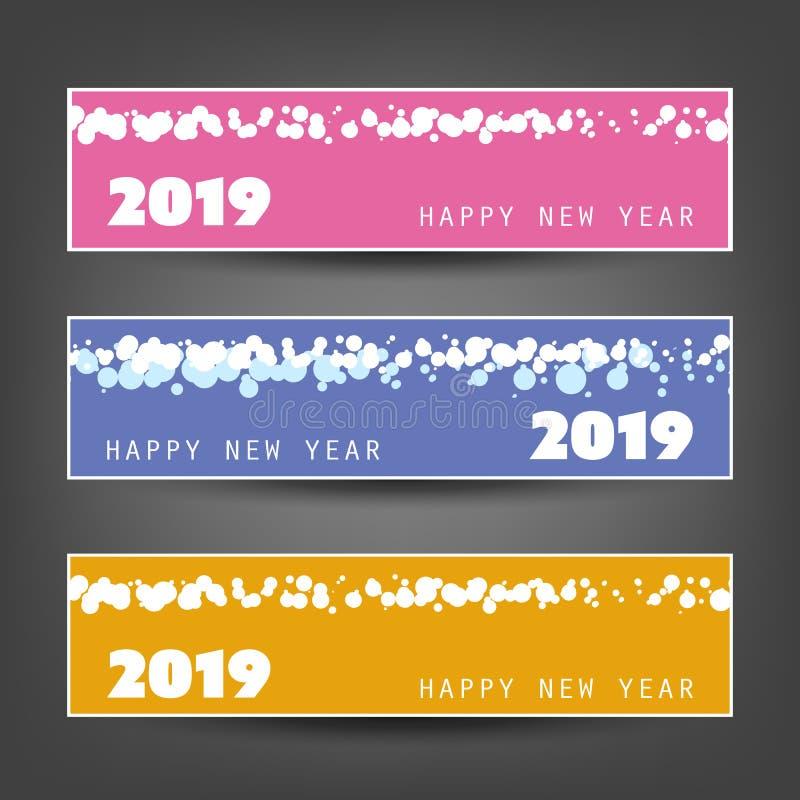 Ajuste dos encabeçamentos do ano novo ou das bandeiras horizontais manchadas - 2019 ilustração stock