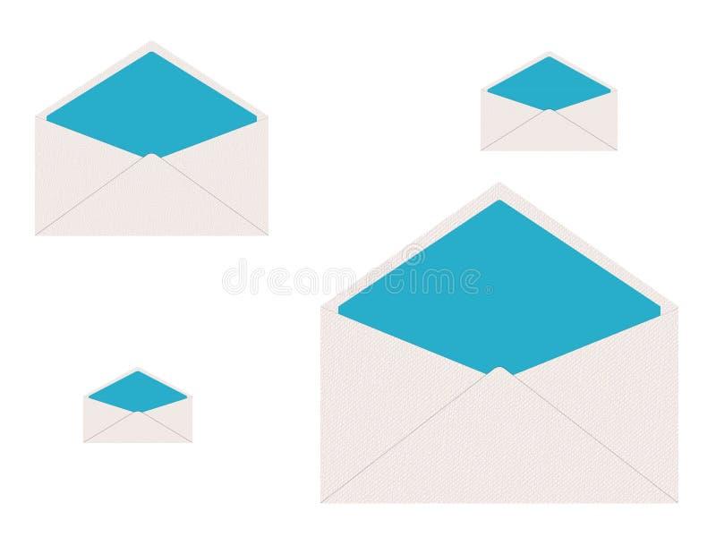 Ajuste dos envelopes brancos e azuis ilustração stock