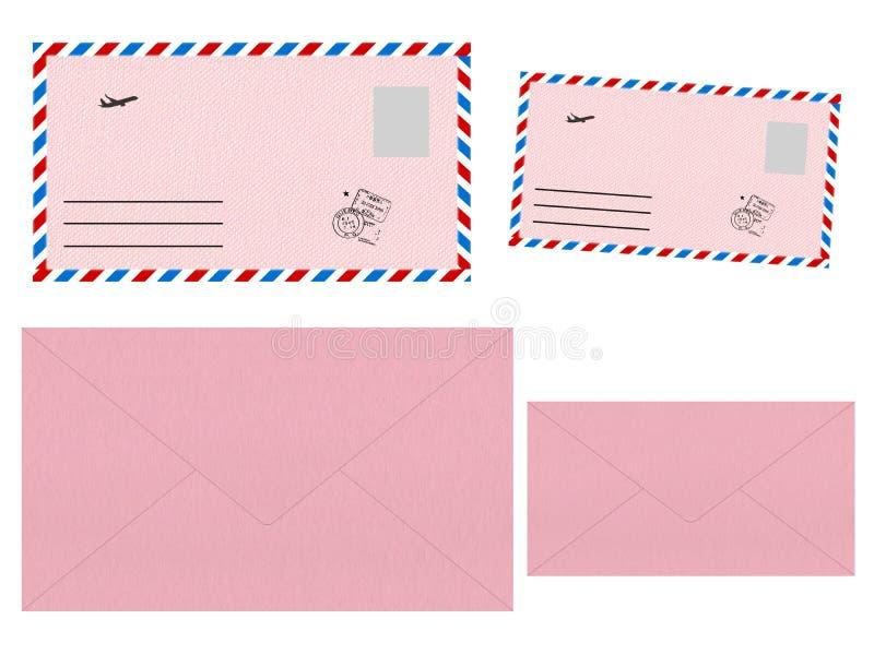Ajuste dos envelopes cor-de-rosa ilustração royalty free