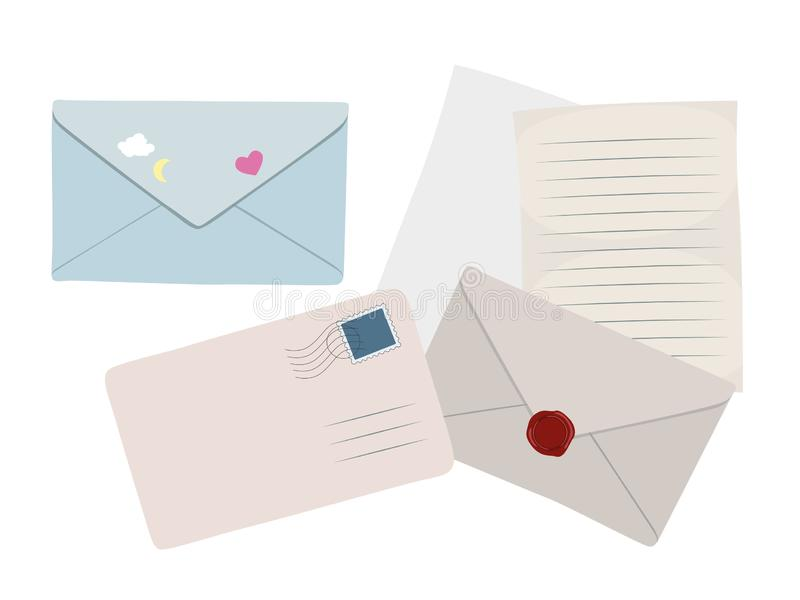 Ajuste dos envelopes, das letras lisas e dos papéis bonitos do vetor isolados no fundo branco ilustração stock