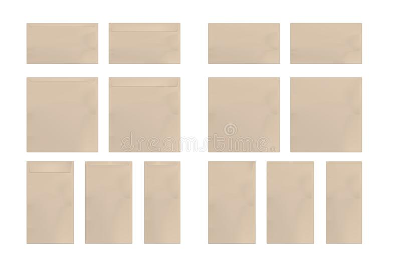 Ajuste dos envelopes de papel marrons ilustração stock