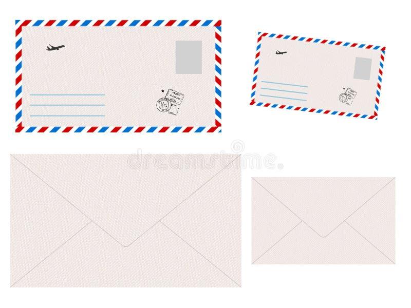 Ajuste dos envelopes no fundo branco ilustração royalty free