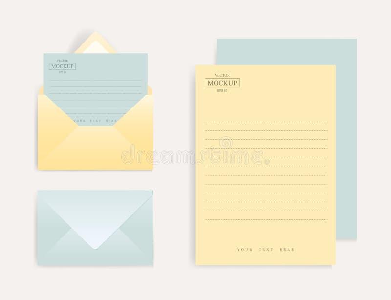 Ajuste dos envelopes realísticos com uma folha de papel ilustração stock