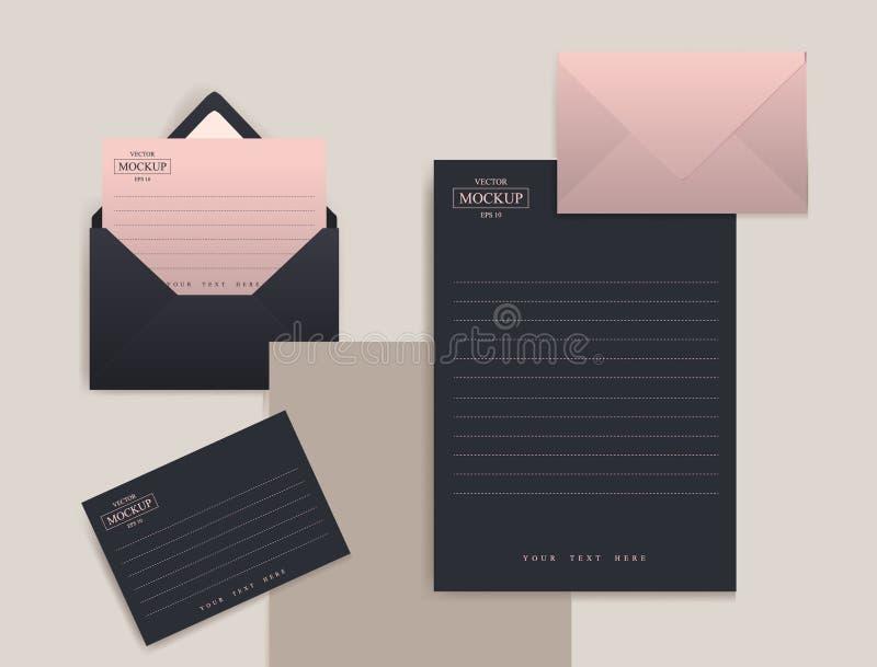 Ajuste dos envelopes realísticos com uma folha de papel ilustração do vetor