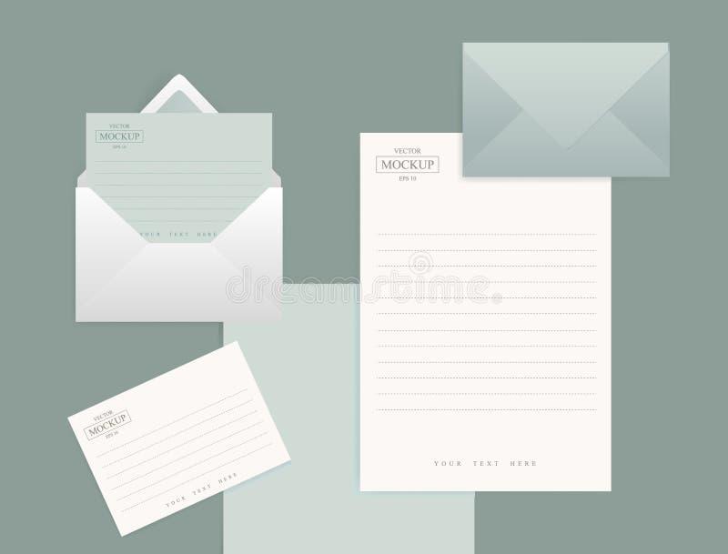 Ajuste dos envelopes realísticos com uma folha de papel ilustração royalty free