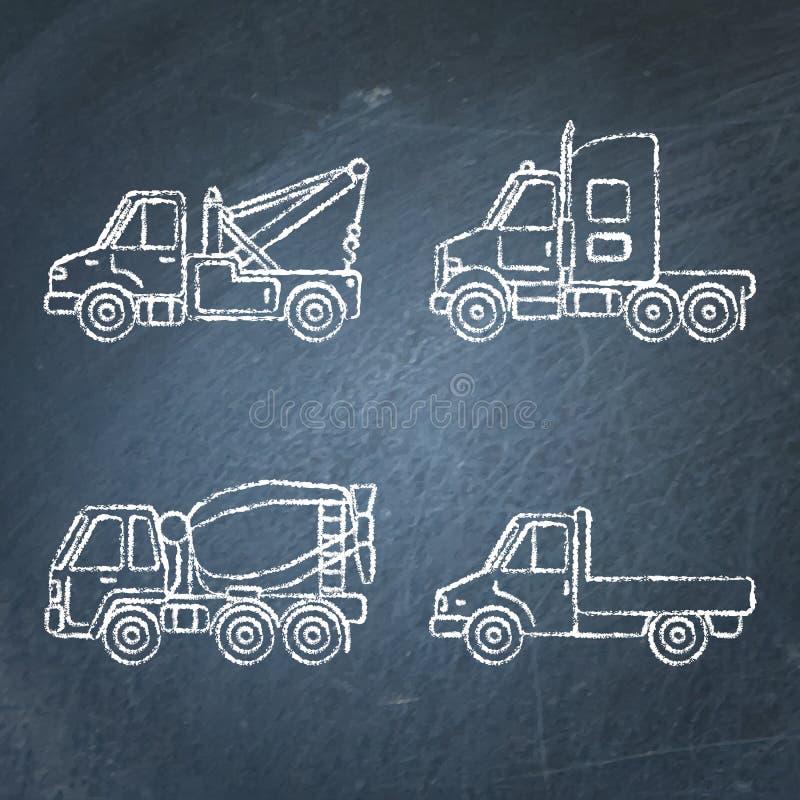 Ajuste dos esboços dos ícones do caminhão no quadro ilustração do vetor
