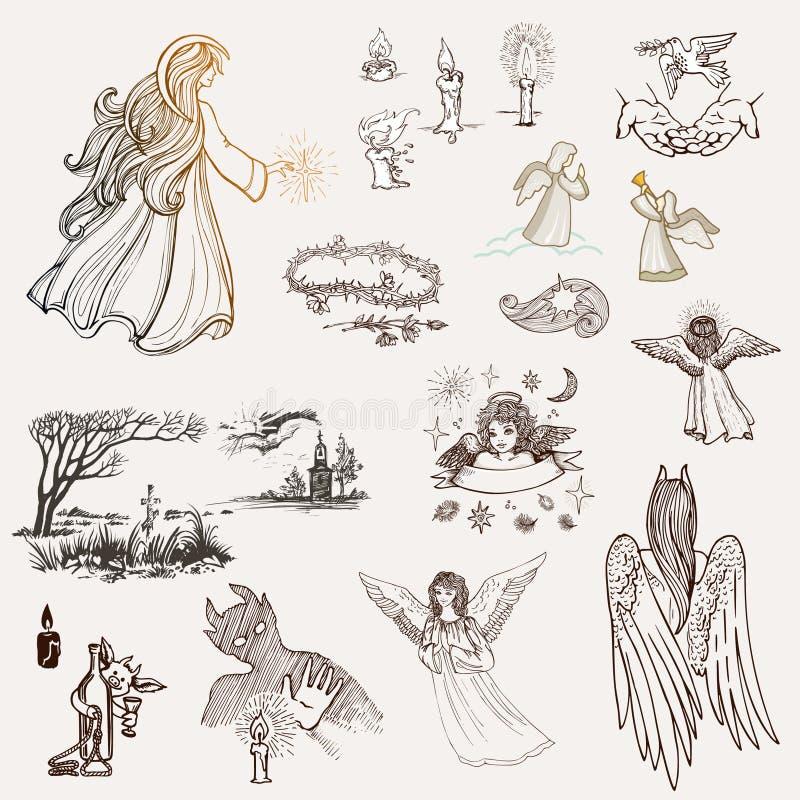 Ajuste dos esboços desenhados à mão na religião Anjos, velas, uma cruz em um cemitério, uma capela ou uma igreja, um demônio, uma ilustração royalty free