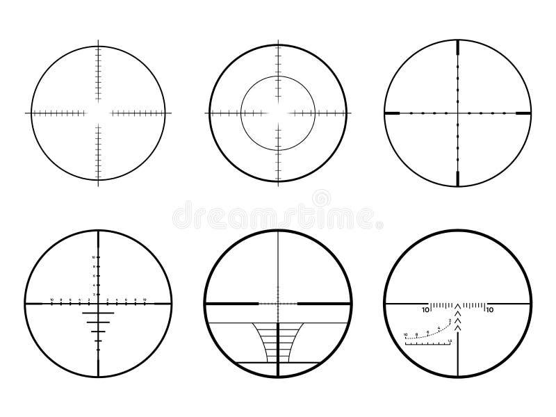 Ajuste dos espaços do crosshair da AR Crosshairs militares do alvo do rifle de atirador furtivo ilustração do vetor