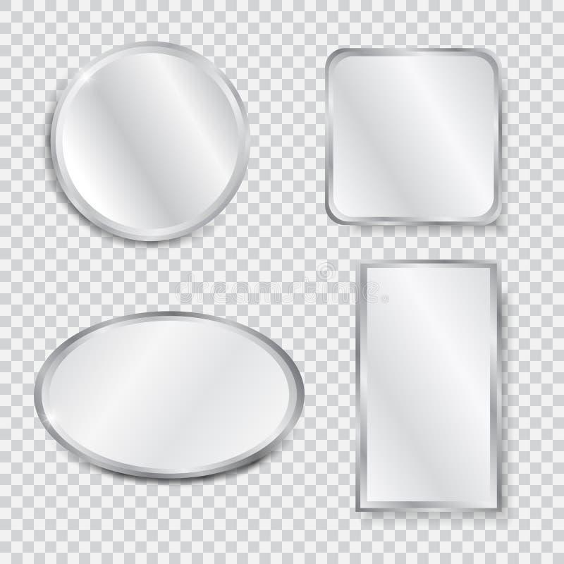 Ajuste dos espelhos geométricos realísticos ilustração stock