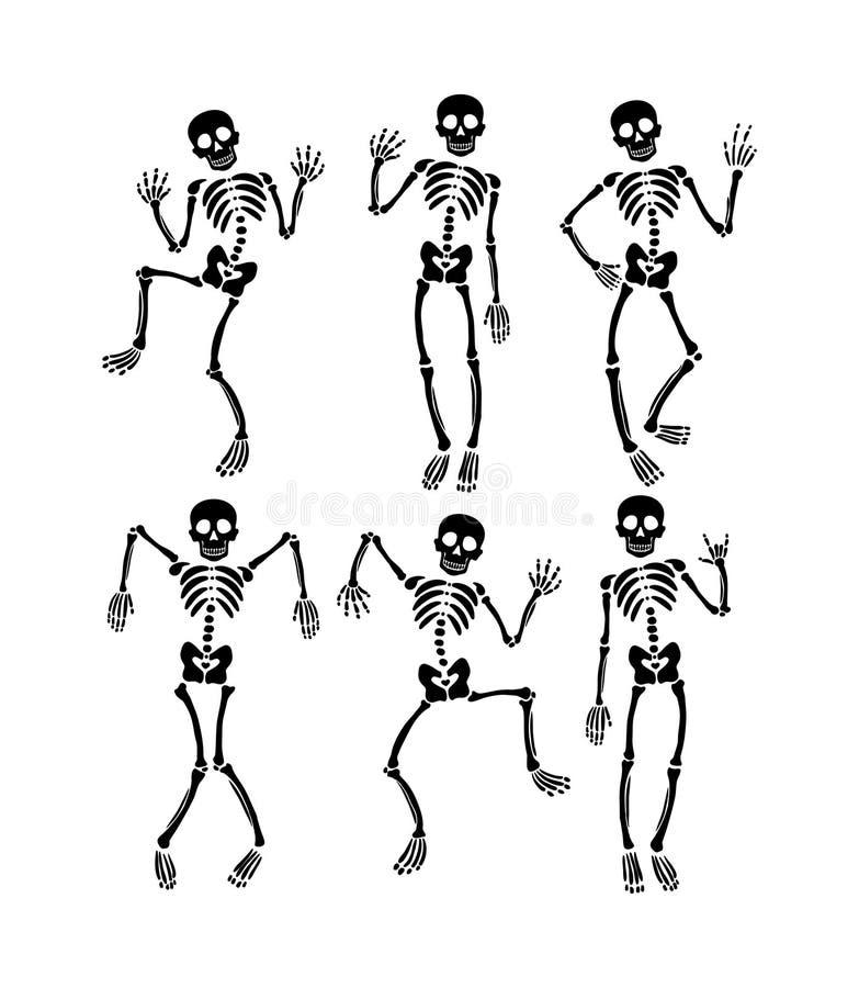 Ajuste dos esqueletos de dança ilustração stock