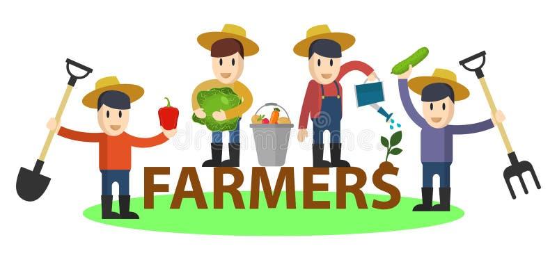 Ajuste dos fazendeiros e dos jardineiro engraçados lisos com ferramentas e vegetais Car?teres do vetor ajustados Comcept da agric ilustração royalty free