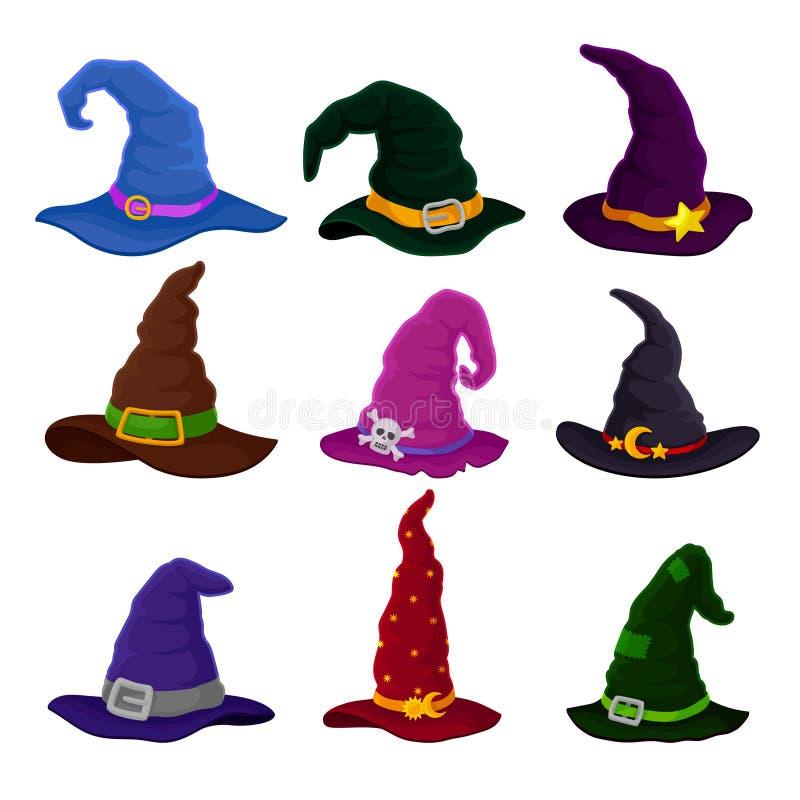 Ajuste dos feiticeiros dos chapéus em cores diferentes Ilustra??o do vetor no fundo branco ilustração do vetor