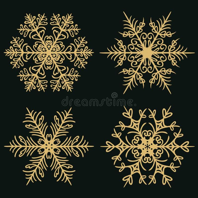 Ajuste dos flocos de neve do inverno em um fundo dourado escuro ilustração stock