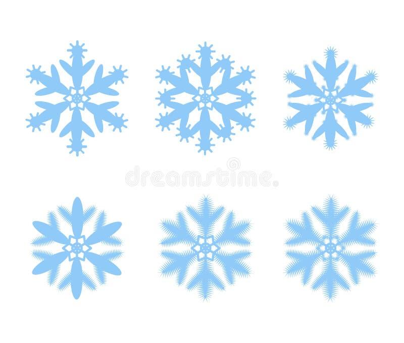 Ajuste dos flocos de neve do vetor isolados no fundo Elementos para o inverno festivo, Natal, decorações do ano novo ilustração royalty free