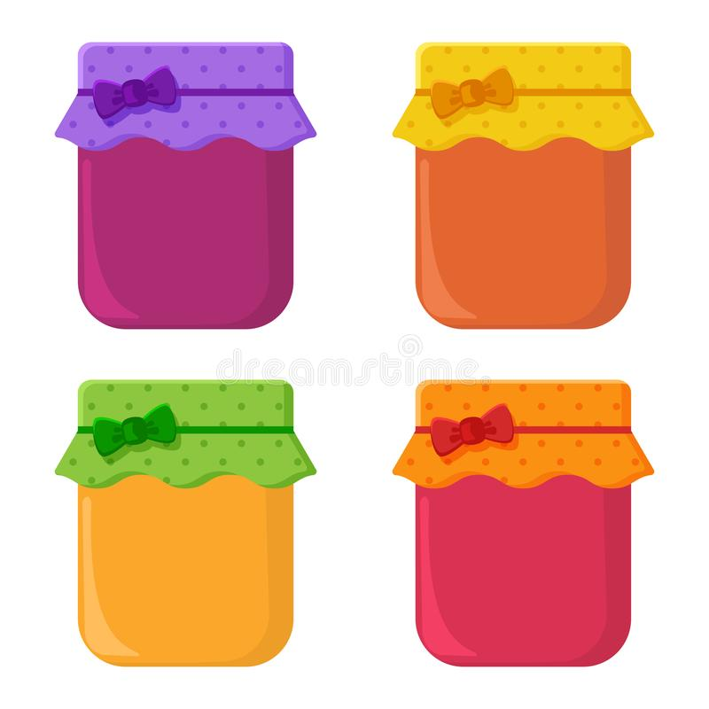 Ajuste dos frascos com doce do fruto Ilustra??o do vetor ilustração stock