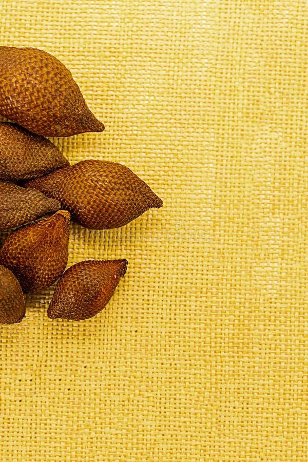 Ajuste dos frutos inteiros serpenteiam o fruto exótico da pele desigual espinhoso do salacca do fruto de Indonésia Ásia em um  imagem de stock royalty free