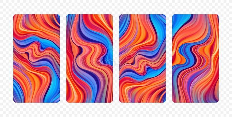 Ajuste dos fundos coloridos abstratos do fluxo Projeto de tela moderno para o app ilustração royalty free