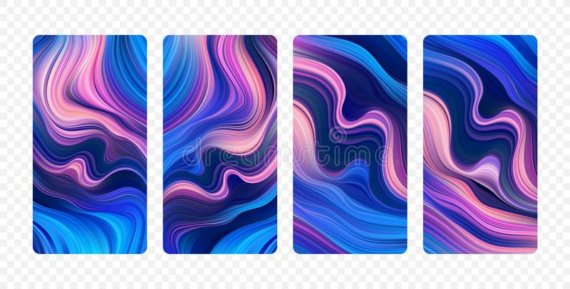 Ajuste dos fundos coloridos abstratos do fluxo Projeto de tela moderno para o app ilustração stock