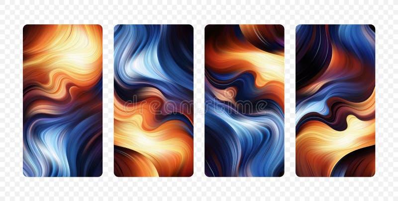 Ajuste dos fundos coloridos abstratos do fluxo Projeto de tela moderno para o app ilustração do vetor