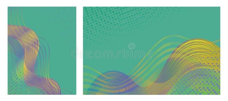Ajuste dos fundos com projeto abstrato colorido na moda para folhetos, cartazes, apresentações e bandeiras ilustração stock