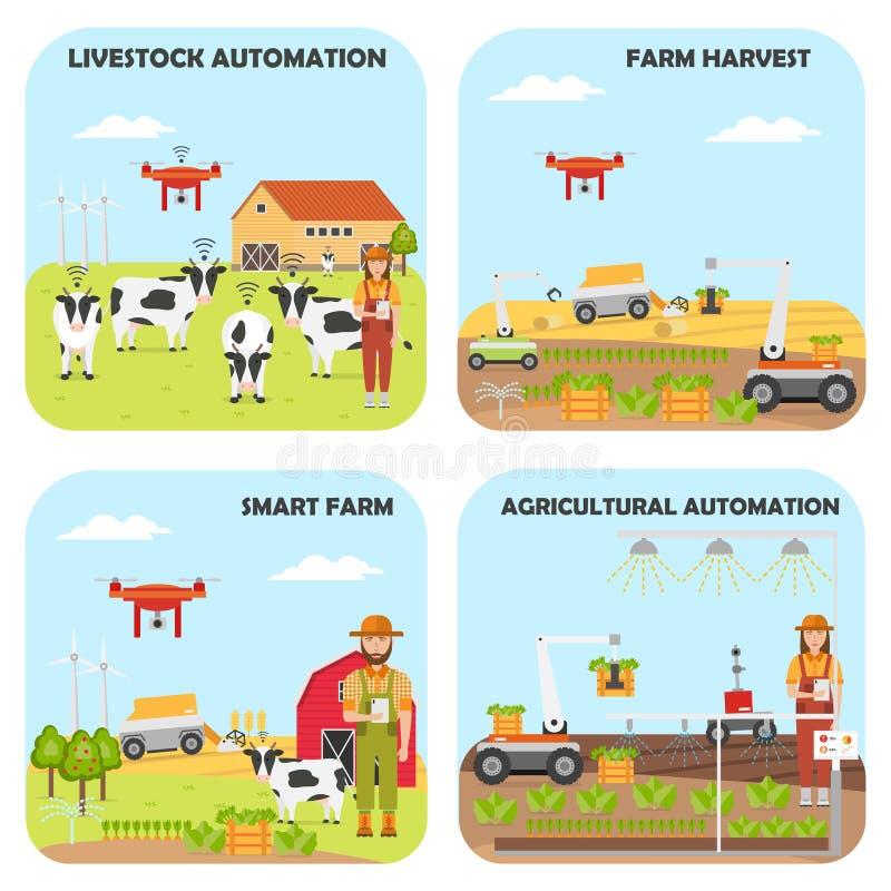 Ajuste dos fundos espertos da exploração agrícola Automatização agrícola e dos rebanhos animais ilustração do vetor