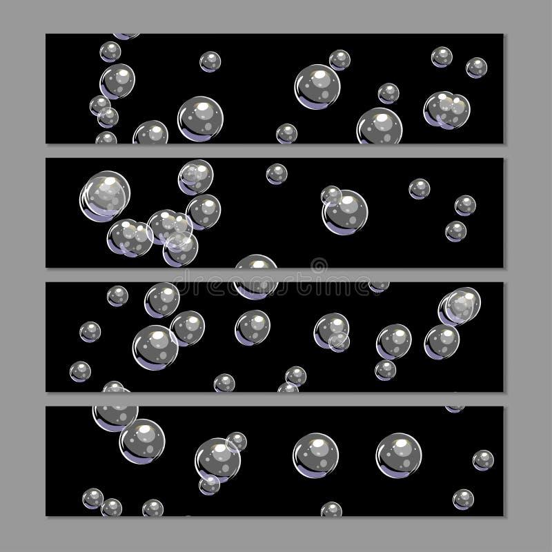 Ajuste dos fundos horisontal da bolha Molde do vetor isolado no cinza ilustração stock