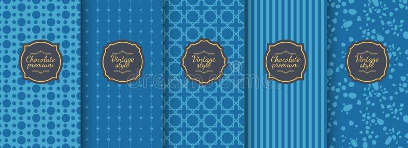 Ajuste dos fundos sem emenda do vintage azul para o projeto de empacotamento luxuoso ilustração do vetor