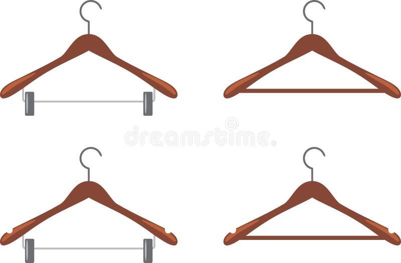 Ajuste dos ganchos de roupa de madeira ilustração stock