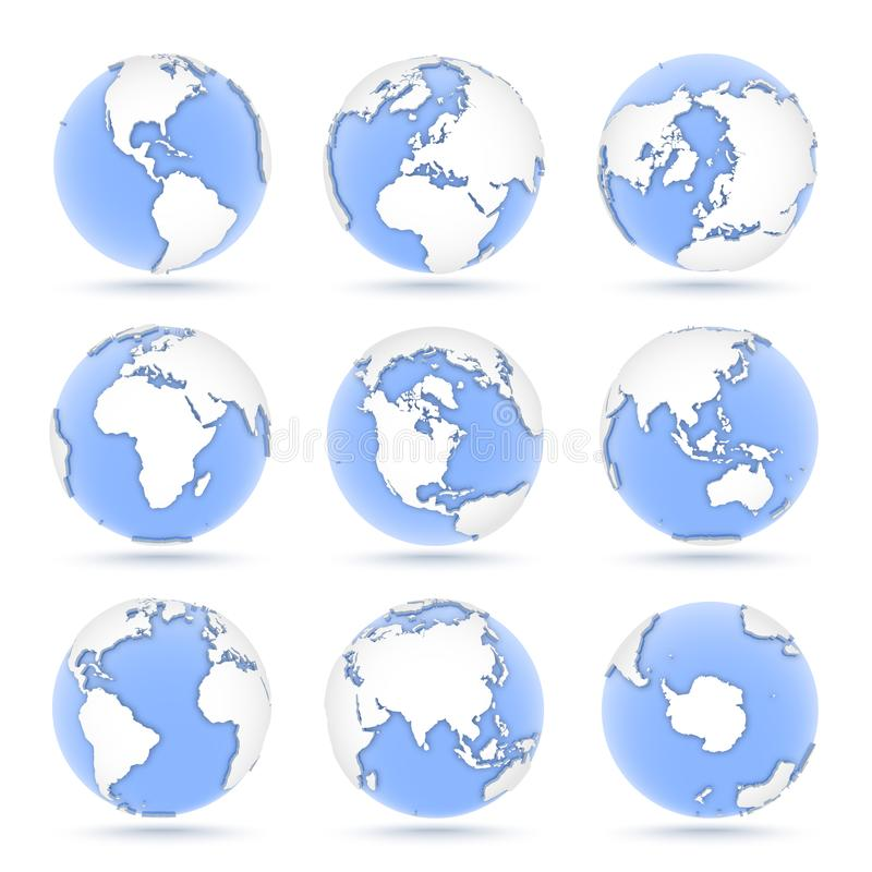 Ajuste dos globos, nove ícones dos globos azuis que mostram a terra de todos os continentes ilustração royalty free