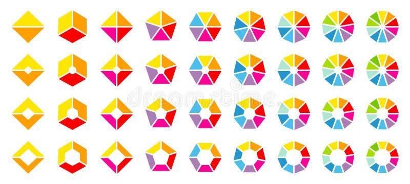 Ajuste dos gráfico de setores circulares angulares coloridos diferentes ilustração royalty free