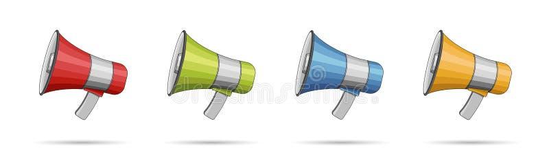 Ajuste dos illusrations diferentes dos megafone da cor, isolado ilustração do vetor