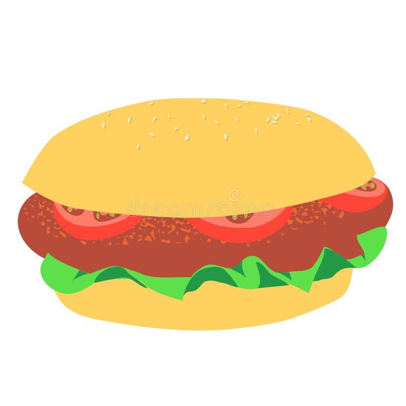 Ajuste dos ingredientes para o Hamburger ilustração stock