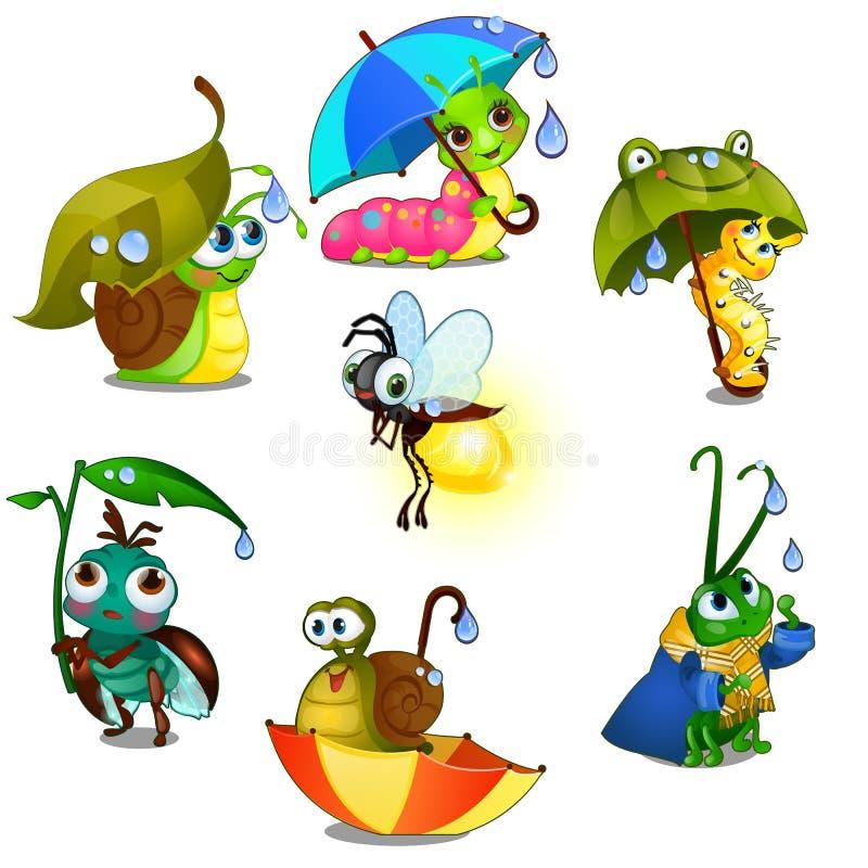 Ajuste dos insetos alegres bonitos isolados no fundo branco Ilustração do close-up dos desenhos animados do vetor ilustração do vetor