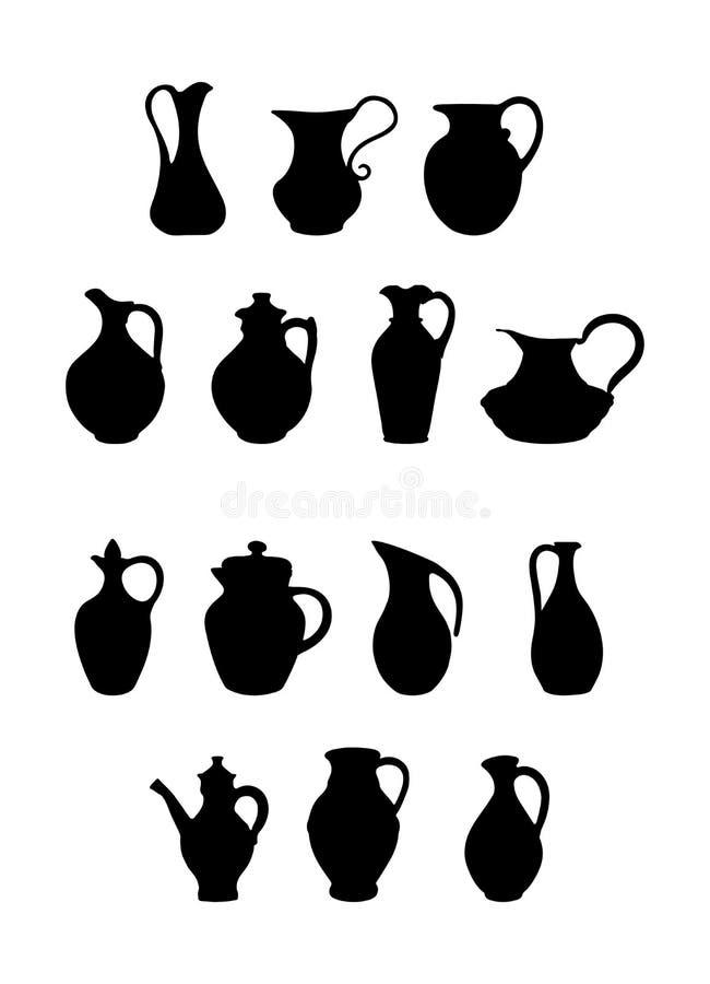 Ajuste dos jarros de formas e de configurações diferentes para o projeto e a decoração ilustração stock