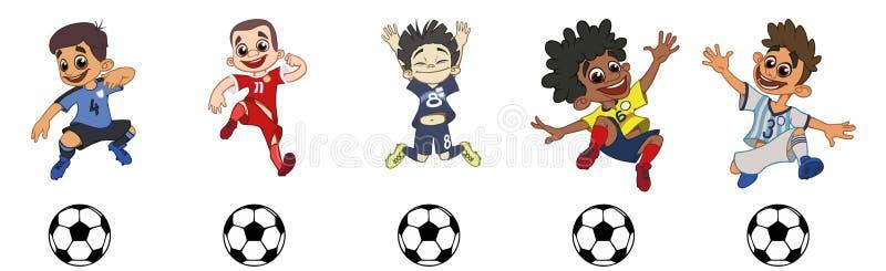 Ajuste dos jogadores de futebol das crianças, um jogo de bola ilustração stock