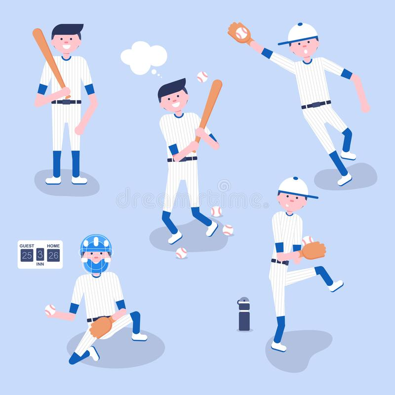 Ajuste dos jogadores dos desenhos animados do basebol ilustração royalty free