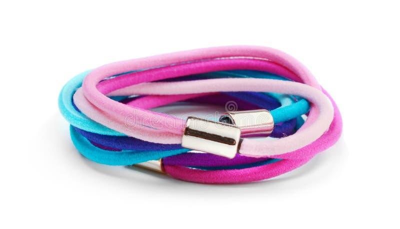 Ajuste dos laços coloridos do cabelo isolado fotos de stock