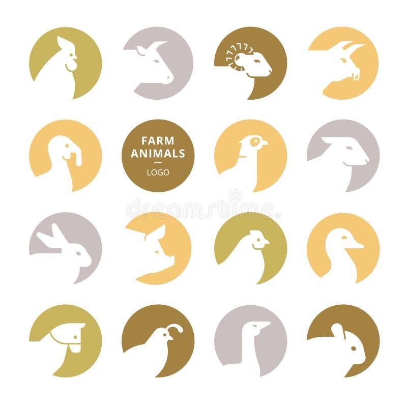 Ajuste dos logotipos coloridos do animal de exploração agrícola do vetor no estilo liso isolado no fundo branco ilustração do vetor
