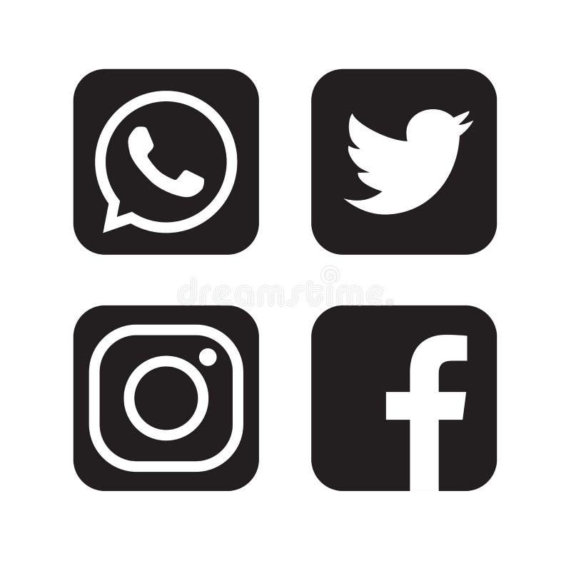 Ajuste dos logotipos sociais populares dos meios, whatsapp de youtube do gorjeio do instagram do facebook dos ?cones ilustração do vetor