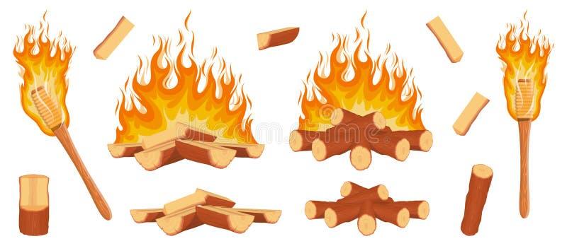 Ajuste dos logs da lenha A lenha entra o fogo Grupo da fogueira Tocha de madeira com um fogo ardente Logs e pranchas de madeira ilustração do vetor